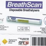 Disposable single use breathalyer